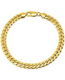 Men's Cuban Link Chain Bracelet in 18k Gold-Plated Sterling Silver