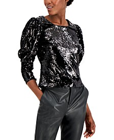 INC Sequin Puff-Sleeve Top, Created for Macy's