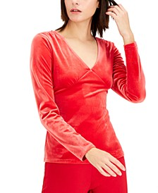 INC Petite Velvet V-Neck Top, Created for Macy's