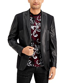 INC Men's Faux Leather Pieced Blazer, Created for Macy's