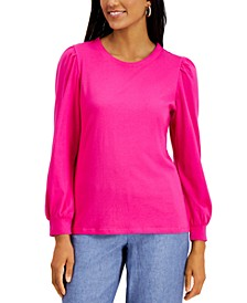 Supima® Puff-Sleeve Top, Created for Macy's