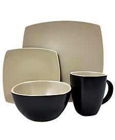 Infinite Glaze Matte 16 Piece Soft Square Stoneware Dinnerware Set