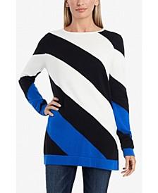 Women's Color Block Asymmetrical Stripe Sweater