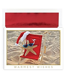 Starfish Santa Holiday Boxed Cards, 18 Cards and 18 Foil Lined Envelopes