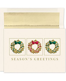 Wreath Trio Holiday Boxed Cards, 16 Cards and 16 Envelopes