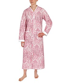 Paisley-Print Long Zipper Robe