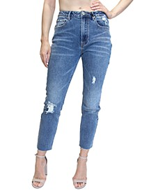 Juniors' High-Rise Raw-Hem Mom Jeans