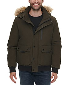 Men's Bomber Parka with Faux Fur Hood