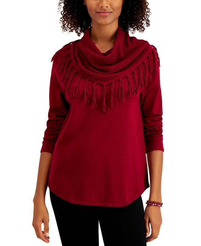 Style & Co Petite Cotton Fringed Cowlneck Sweater, Created for Macy's
