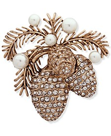 Gold-Tone Imitation Pearl & Crystal Pine Cone Pin