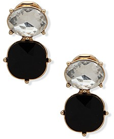 Gold-Tone Two Stone Clip-On Drop Earrings