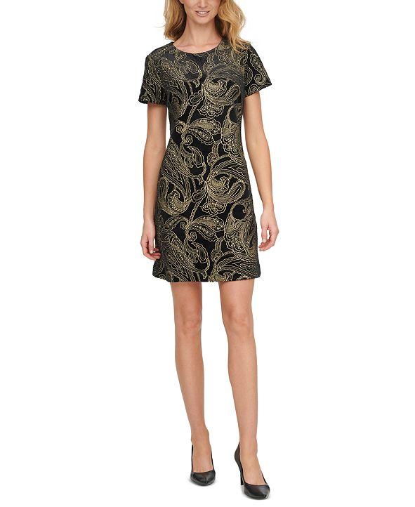 Calvin Klein Embroidered-Velvet Shift Dress