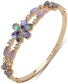 Gold-Tone Stone & Crystal Bangle Bracelet