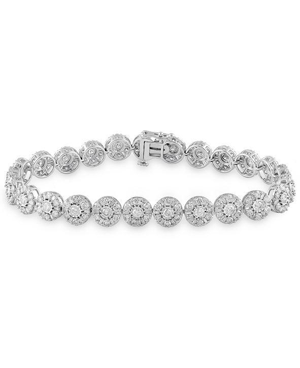Macy's Diamond Halo Tennis Bracelet (7 ct. t.w.) in 10k White Gold