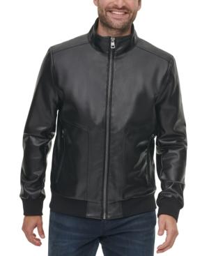 Calvin Klein Men's Faux Leather Bomber Jacket