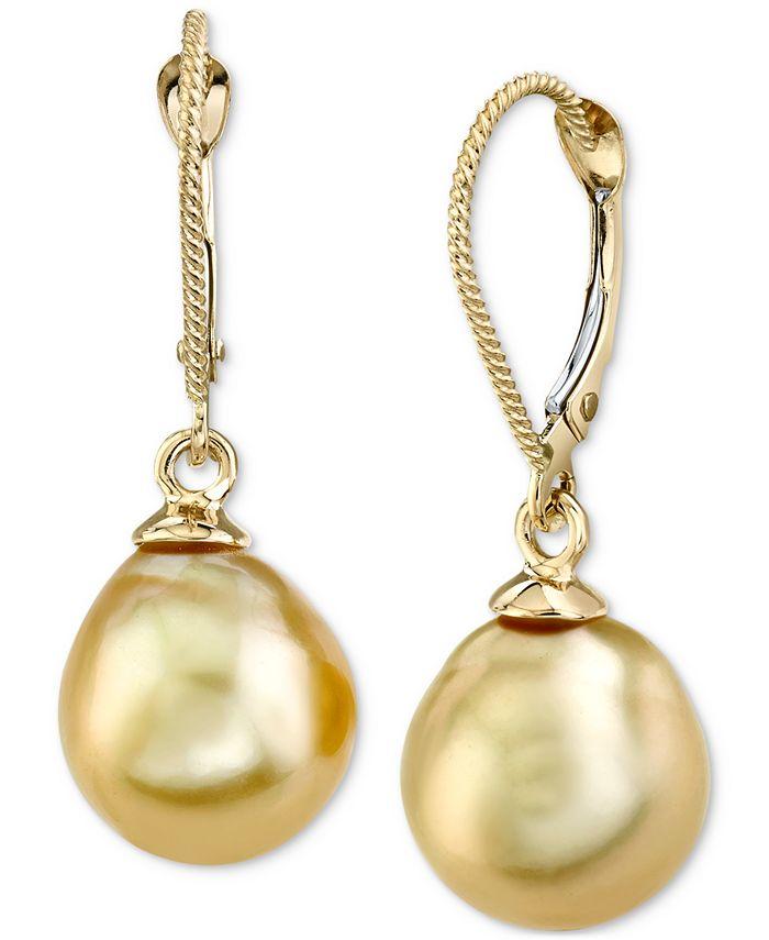 Macy's - Cultured Golden South Sea Pearl (10mm) Drop Earrings in 14k Gold