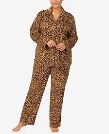 Plus Size Printed Fleece Pajama Set