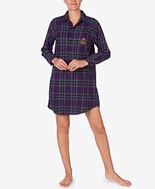 로렌 랄프로렌 잠옷 슬립 셔츠 Lauren Ralph Lauren Brushed Twill Plaid Sleep Shirt,Purp Pld