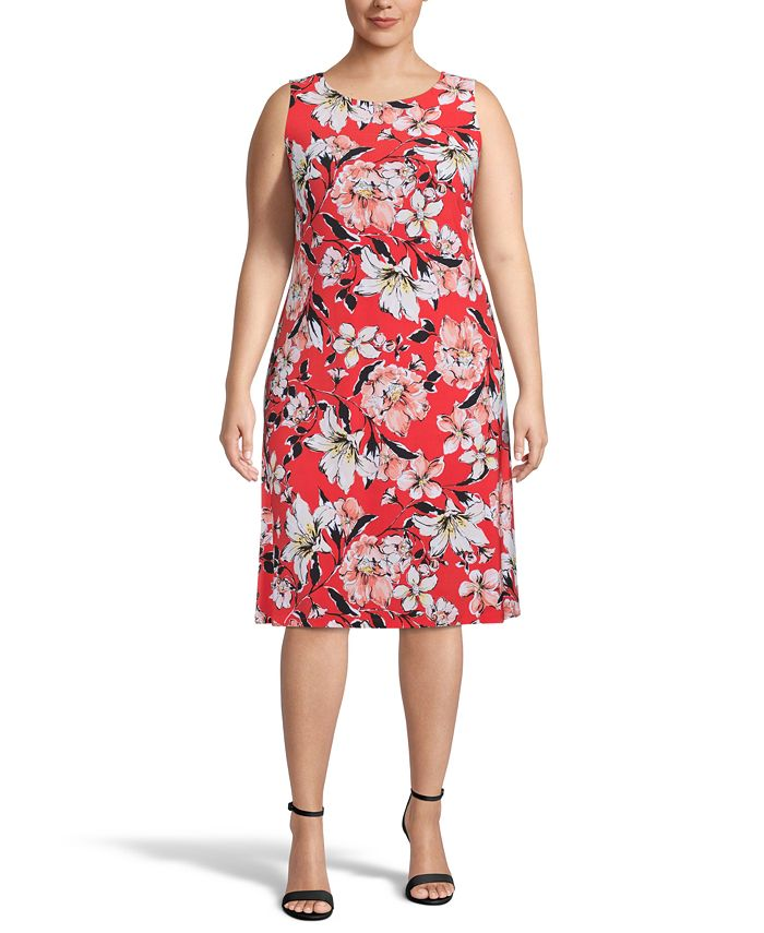 Kasper - Plus Size Floral-Print Sleeveless Dress