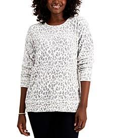 Petite Printed Velour Sweatshirt, Created for Macy's
