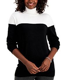 Karen Scott Colorblock Turtleneck Sweater, Created for Macy's
