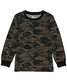 Little Boy Crew Neck Basic Camo Thermal T-shirt