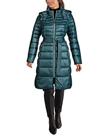Hooded Belted Puffer Coat