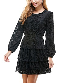 Juniors' Textured Tiered Fit & Flare Dress