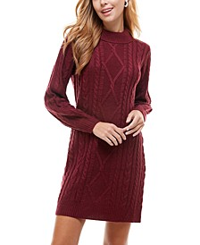 Juniors' Mock-Neck Cable-Knit Sweater Dress
