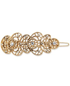 Gold-Tone Crystal Filigree Hair Barrette
