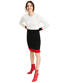 Charter Club Colorblock Cashmere Sweater Dress, Created for Macy's