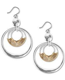 Two-Tone Wire-Wrapped Orbital Drop Hoop Earrings