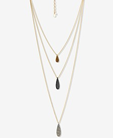 """Tri-Tone Hammered Paddle Layered Pendant Necklace, 18"""" + 2"""" extender"""