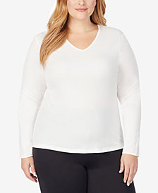 Cuddl Duds Plus Size Softwear Lace-Edge Long-Sleeve V-Neck Top