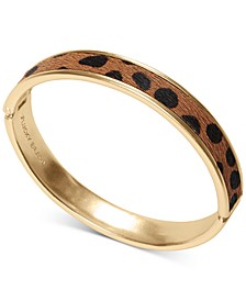 Gold-Tone Leopard-Print Faux-Fur Inlay Bangle Bracelet