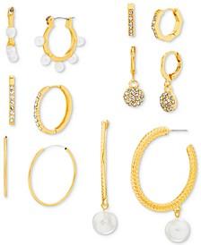 Gold-Tone 6-Pc. Set Crystal & Imitation Pearl Hoop Earrings