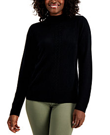 Karen Scott Mock-Neck Cable-Trim Sweater, Created for Macy's