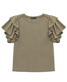 INC Cotton Ruffled-Sleeve Top, Created for Macy's