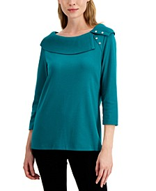 Cotton Envelope Collar Top, Created for Macy's