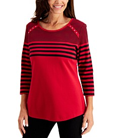3/4-Sleeve Striped Rivet-Trim Top, Created for Macy's