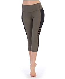 High Waist Three-Fourth Length Compression Pocket Mesh Leggings
