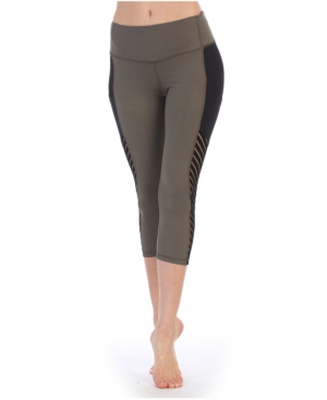 High Waist Three-Fourth Length Compression Pocket Mesh Leggings