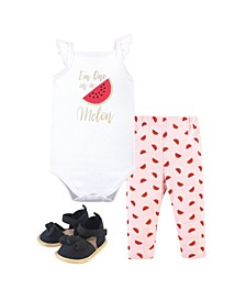 Baby Boys and Girls Watermelon Bodysuit, Pant and Shoe Set, Pack of 3