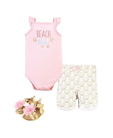 Baby Girls Beach Babe Bodysuit, Pant and Shoe Set, Pack of 3