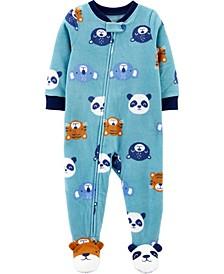 Toddler Boys 1-Piece Animal Fleece Footie Pajamas