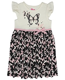 Toddler Girls Short Flutter Sleeve Butterfly Print Ribbon Tutu Dress