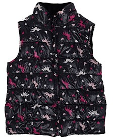 Big Girls All Over Print Shiny Reversible Vest