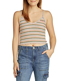 Juniors' Cropped Striped Tank Top