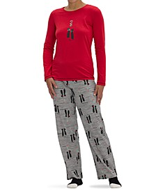 Women's Kiss Me Cat Knit 3pc Pajama Set