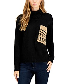 Zebra-Pocket Turtleneck Sweater